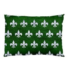 Royal1 White Marble & Green Leather (r) Pillow Case