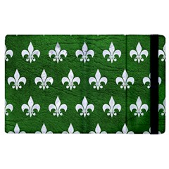 Royal1 White Marble & Green Leather (r) Apple Ipad 3/4 Flip Case