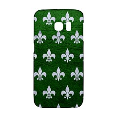 Royal1 White Marble & Green Leather (r) Samsung Galaxy S6 Edge Hardshell Case