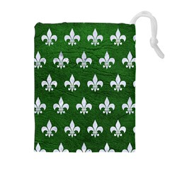 Royal1 White Marble & Green Leather (r) Drawstring Pouches (extra Large)
