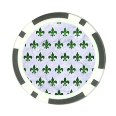 Royal1 White Marble & Green Leather Poker Chip Card Guard