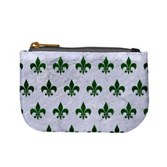 Royal1 White Marble & Green Leather Mini Coin Purses