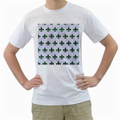 Royal1 White Marble & Green Leather Men s T Shirt (white)