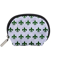 Royal1 White Marble & Green Leather Accessory Pouches (small)