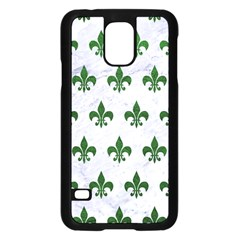 Royal1 White Marble & Green Leather Samsung Galaxy S5 Case (black)