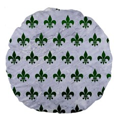 Royal1 White Marble & Green Leather Large 18  Premium Flano Round Cushions by trendistuff