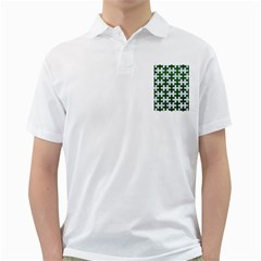 Puzzle1 White Marble & Green Leather Golf Shirt