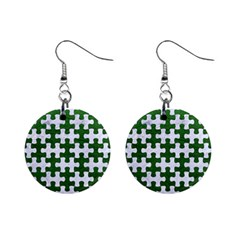 Puzzle1 White Marble & Green Leather Mini Button Earrings