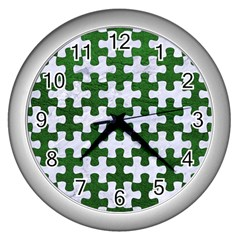 Puzzle1 White Marble & Green Leather Wall Clock (silver)