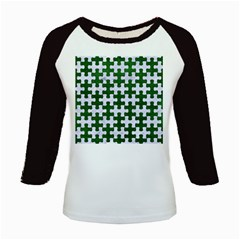 Puzzle1 White Marble & Green Leather Kids Baseball Jerseys