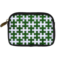 Puzzle1 White Marble & Green Leather Digital Camera Cases
