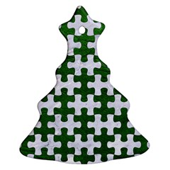 Puzzle1 White Marble & Green Leather Christmas Tree Ornament (two Sides)