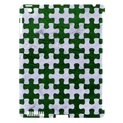 Puzzle1 White Marble & Green Leather Apple Ipad 3/4 Hardshell Case (compatible With Smart Cover)
