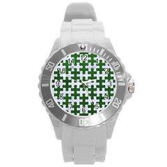 Puzzle1 White Marble & Green Leather Round Plastic Sport Watch (l)