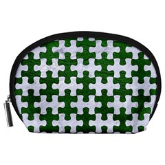 Puzzle1 White Marble & Green Leather Accessory Pouches (large)