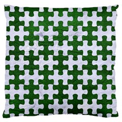 Puzzle1 White Marble & Green Leather Large Flano Cushion Case (one Side)