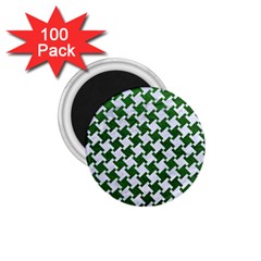 Houndstooth2 White Marble & Green Leather 1 75  Magnets (100 Pack)