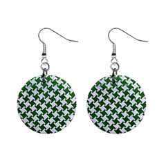 Houndstooth2 White Marble & Green Leather Mini Button Earrings