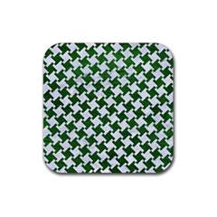 Houndstooth2 White Marble & Green Leather Rubber Square Coaster (4 Pack)
