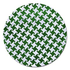 Houndstooth2 White Marble & Green Leather Magnet 5  (round)