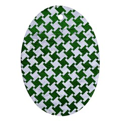 Houndstooth2 White Marble & Green Leather Oval Ornament (two Sides)