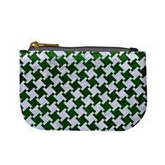 Houndstooth2 White Marble & Green Leather Mini Coin Purses