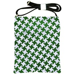 Houndstooth2 White Marble & Green Leather Shoulder Sling Bags