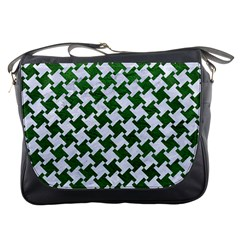 Houndstooth2 White Marble & Green Leather Messenger Bags