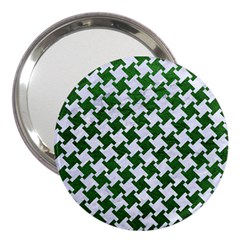 Houndstooth2 White Marble & Green Leather 3  Handbag Mirrors
