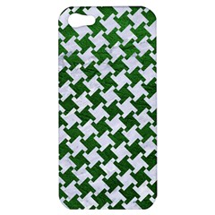 Houndstooth2 White Marble & Green Leather Apple Iphone 5 Hardshell Case