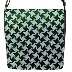 Houndstooth2 White Marble & Green Leather Flap Messenger Bag (s)