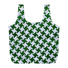 Houndstooth2 White Marble & Green Leather Full Print Recycle Bags (l)