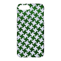 Houndstooth2 White Marble & Green Leather Apple Iphone 7 Plus Hardshell Case