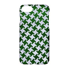 Houndstooth2 White Marble & Green Leather Apple Iphone 7 Hardshell Case