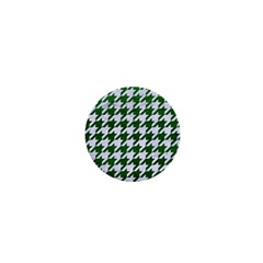 Houndstooth1 White Marble & Green Leather 1  Mini Buttons