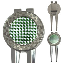 Houndstooth1 White Marble & Green Leather 3 In 1 Golf Divots