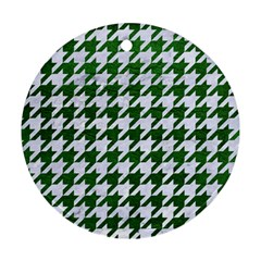 Houndstooth1 White Marble & Green Leather Round Ornament (two Sides)