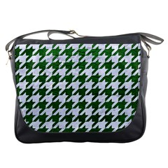 Houndstooth1 White Marble & Green Leather Messenger Bags