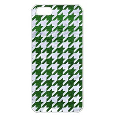 Houndstooth1 White Marble & Green Leather Apple Iphone 5 Seamless Case (white)