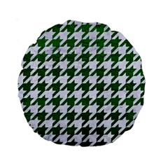 Houndstooth1 White Marble & Green Leather Standard 15  Premium Round Cushions