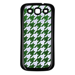 Houndstooth1 White Marble & Green Leather Samsung Galaxy S3 Back Case (black)