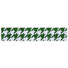 Houndstooth1 White Marble & Green Leather Small Flano Scarf by trendistuff