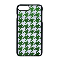 Houndstooth1 White Marble & Green Leather Apple Iphone 7 Plus Seamless Case (black)