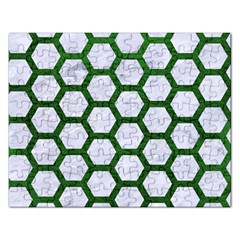 Hexagon2 White Marble & Green Leather (r) Rectangular Jigsaw Puzzl
