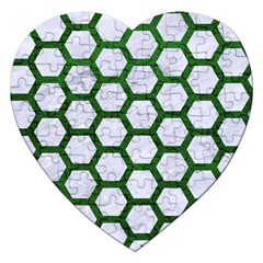 Hexagon2 White Marble & Green Leather (r) Jigsaw Puzzle (heart)