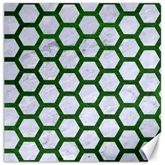 Hexagon2 White Marble & Green Leather (r) Canvas 20  X 20
