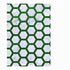 Hexagon2 White Marble & Green Leather (r) Small Garden Flag (two Sides)