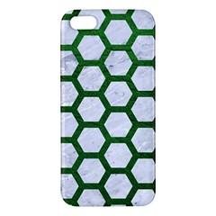 Hexagon2 White Marble & Green Leather (r) Apple Iphone 5 Premium Hardshell Case