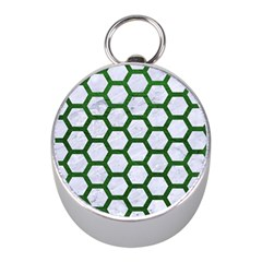 Hexagon2 White Marble & Green Leather (r) Mini Silver Compasses