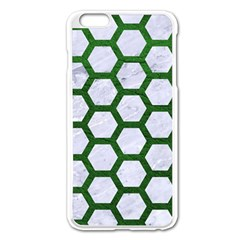 Hexagon2 White Marble & Green Leather (r) Apple Iphone 6 Plus/6s Plus Enamel White Case